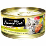 Fussie Cat Premium - Tuna with Shrimp in Aspic Canned Cat Food, 80g, Case of 24