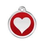 Red Dingo: Stainless Steel with Glitter Identification Tags (Heart)