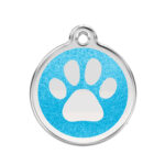 Red Dingo: Stainless Steel with Glitter Identification Tags (Paw Print)