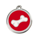 Red Dingo: Stainless Steel with Enamel Identification Tags (3D Bone)