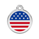 Red Dingo: Stainless Steel with Enamel Identification Tags (Stars & Stripes)