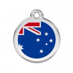 Red Dingo: Stainless Steel with Enamel Identification Tags (Australian Flag)