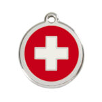 Red Dingo: Stainless Steel with Enamel Identification Tags (Swiss Cross)