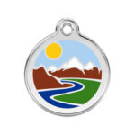 Red Dingo: Stainless Steel with Enamel Identification Tags (Mountains)