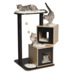 Hagen Catit: Vesper V-Double Base Cat Furniture in Black