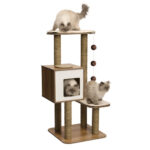 Hagen Catit: Vesper V-High Base Cat Furniture in Walnut