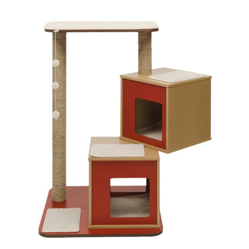 Hagen Catit Vesper V Double Base Cat Furniture In Red Nekojam Com