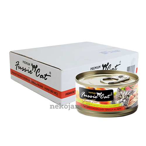 Fussie Cat Premium - Tuna with Chicken Liver in Aspic Canned Cat Food, 80g,  Case of 24