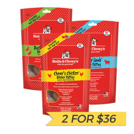 2 FOR $36: Stella & Chewy's Freeze Dried Dinner Patties for Dogs (Chicken/Duck/Lamb, 5.5oz)