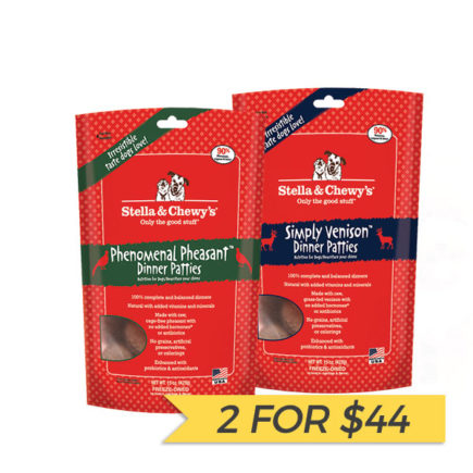 2 FOR $44: Stella & Chewy's Freeze Dried Dinner Patties for Dogs (Venison/Pheasant, 5.5oz)