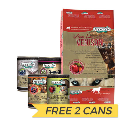 FREE CANS: Addiction Viva La Venison Dry Dog Food