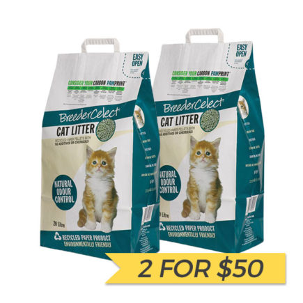 2 FOR $50: BreederCelect Recycled Paper Cat Litter