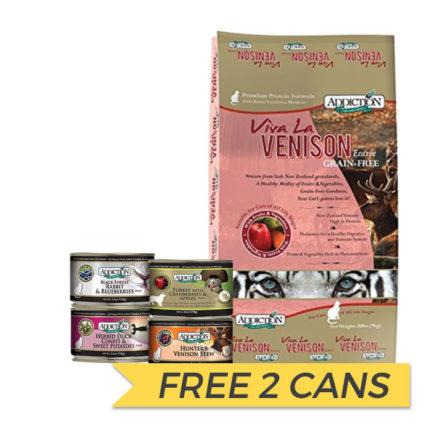FREE CANS: Addiction Grain Free Viva La Venison Dry Cat Food