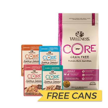 FREE CANS: Wellness Core Grain Free Turkey, Turkey Meal and Duck Dry Cat Food