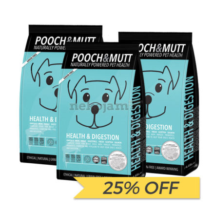 25% OFF: Pooch & Mutt Digestion & Wind Grain Free Dry Dog Food, 2kg x 3