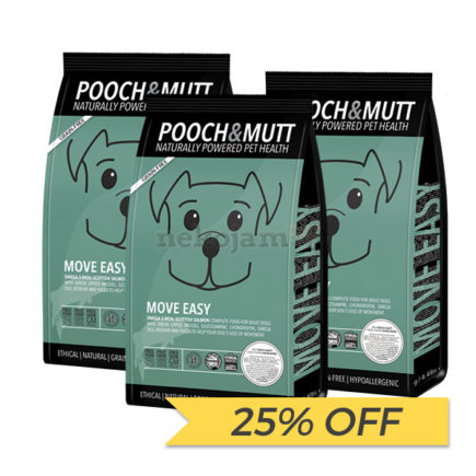 25% OFF: Pooch & Mutt Move Easy Grain Free Dry Dog Food, 2kg x 3