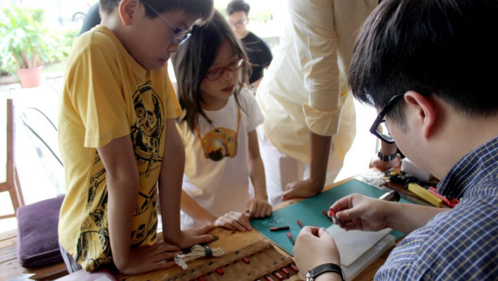 kids leather crafting workshop semicolon works singapore cat festival