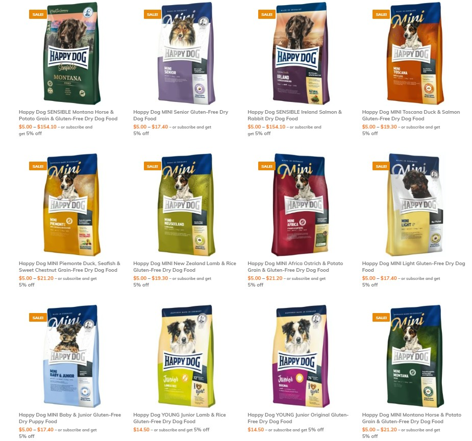 happy dog wide range of products