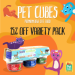 petcubes frozen raw cat food 15% off variety pack