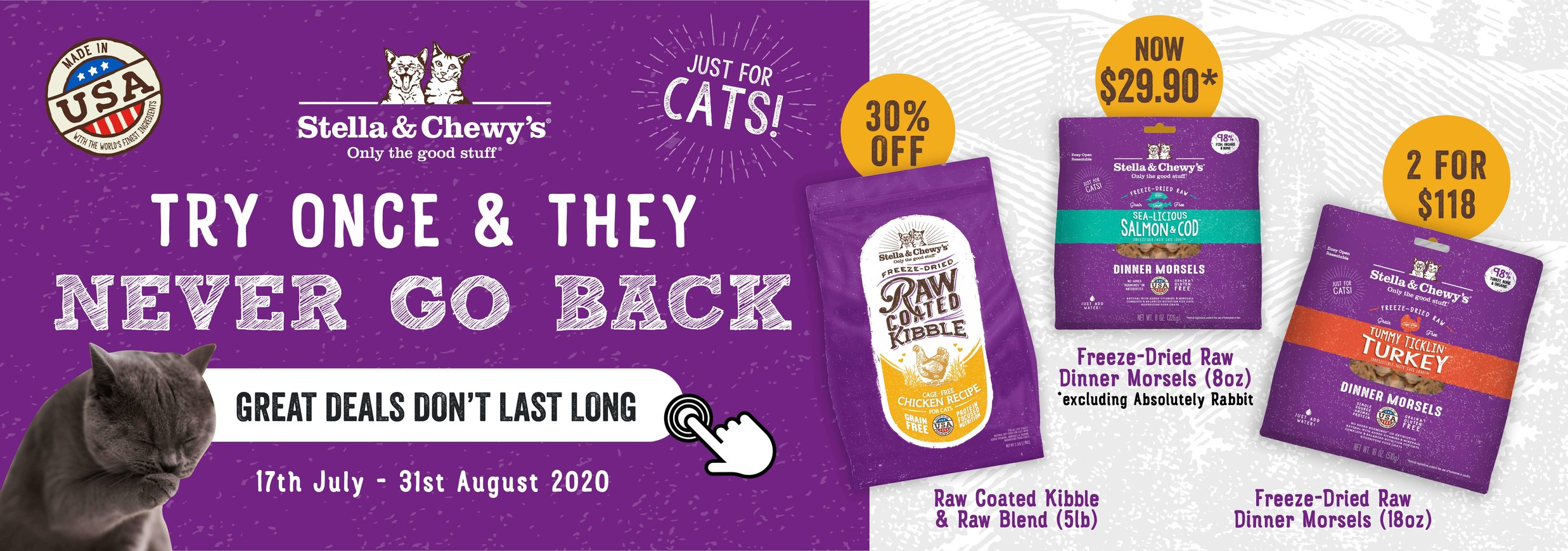 stella & chewy's cat food promotion homepage